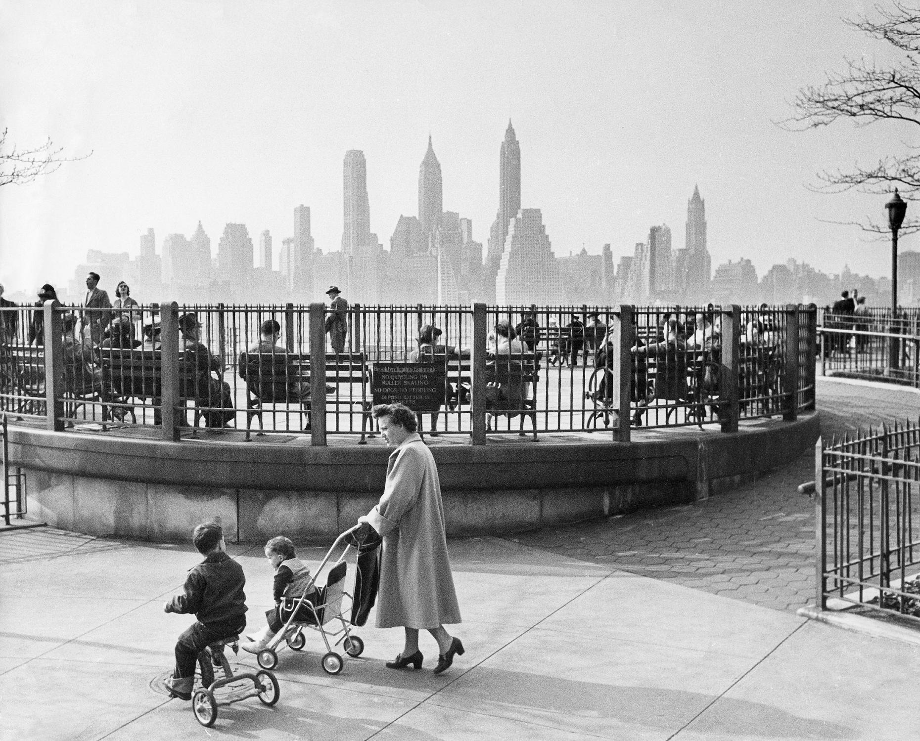 Manhattan, seen from the Brooklyn Promenade (1966) : nyc