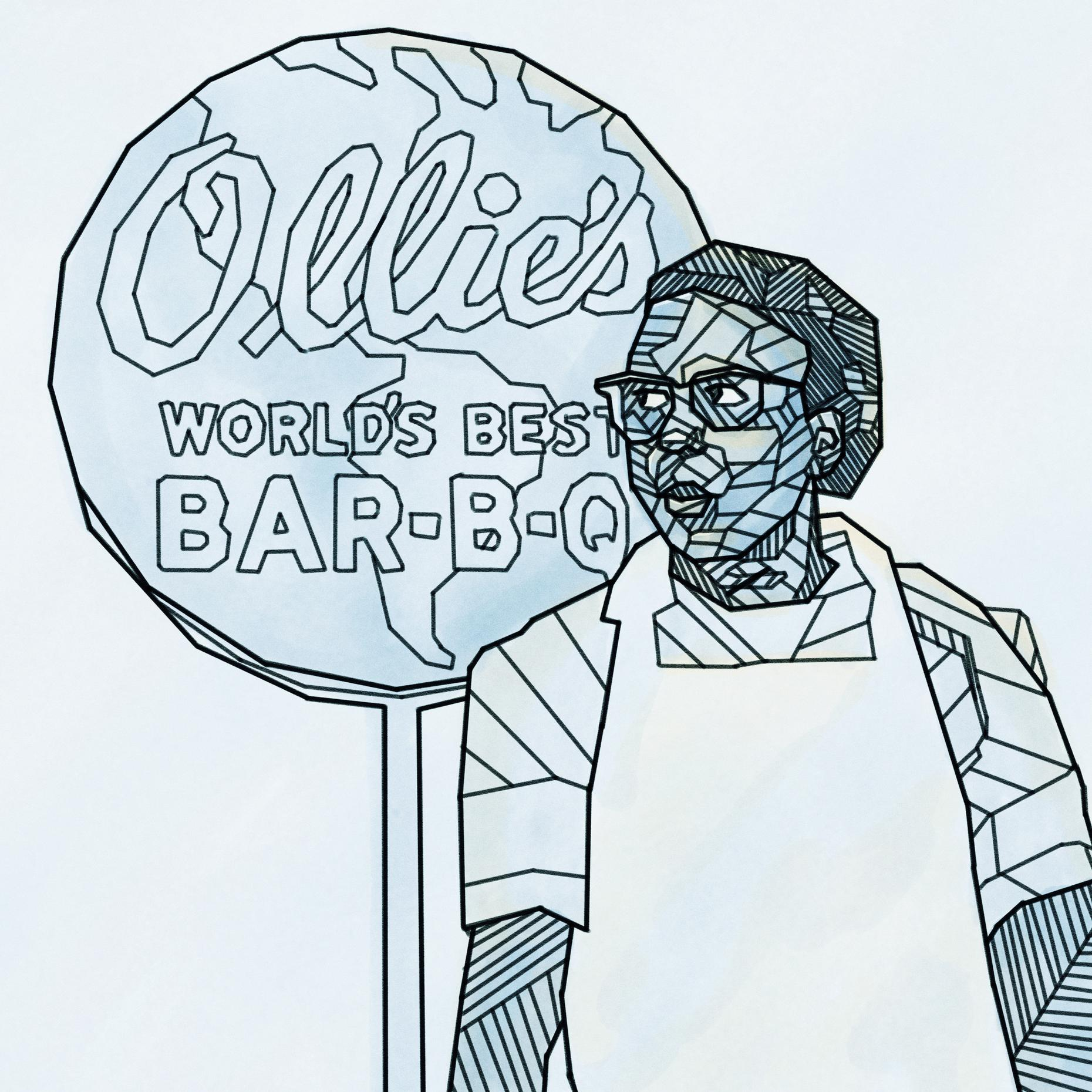 Ollie's Barbecue employee in front of the restaurant's 'World's Best Bar-B-Q' sign