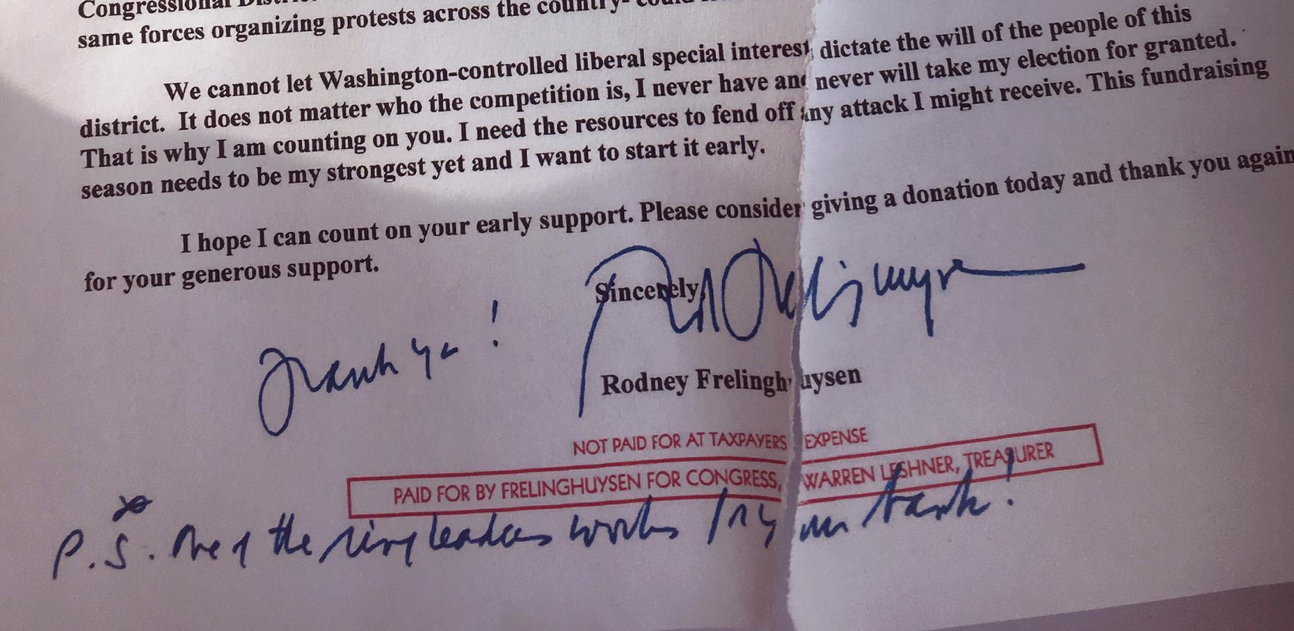 GOP Congressman Frelinghuysen Targets Activist in Letter