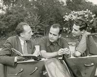 Aaron Copland with Samuel Barber and Gian-Carlo Menotti in Bernardsville, NJ, 1945