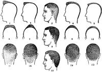 From c1890 illustration 'How Do You Want Your Hair Cut?'