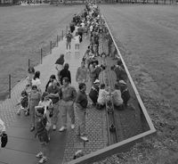 The view from the top of The Wall, looking toward the Lincoln Memorial (undated).