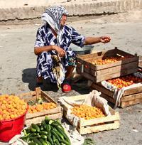 A fruit seller at market in Uzbekistan