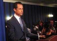New York Rep. Anthony Weiner speaks to the press about sending lewd Twitter messages on June 6, 2011