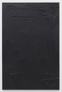 Cosmic Slop, 2011, black soap, wax, 72.5 x 49.5 x 1.75 inches (184.2 x 125.7 x 4.4 cm)