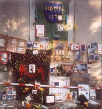 Thomas Hirschhorn's 'Mondrian Altar' made in 1997. The piece is part of the MoMA PS1 <em>September 11</em> exhibit.