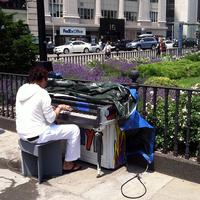 The Pop-Up Pianos Project includes this upright at Columbus Park in Downtown Brooklyn