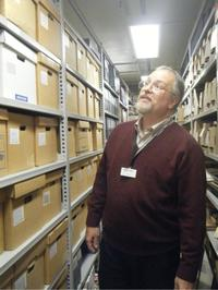 Curator Tim Johnson inside the Sherlock Holmes Collections at the University of Minnesota Library
