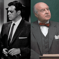Left to right: Raymond Burr as the title character in Perry Mason and John Houseman as Professor Kingsfield in The Paper Chase