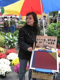 Mouna Andraos with the power cart in New York City's Union Square