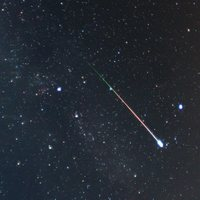 A Perseid meteor photographed in Aug. 2009.