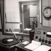 An early production booth at WQXR