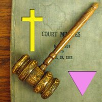 pink triangle, gavel, cross, legal, gay