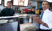 US President Barack Obama orders a sandwich before meeting with small business owners at the Tastee Sub Shop in Edison, New Jersey, July 28, 2010.
