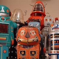 robots waiting drones