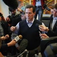 Santorum with press