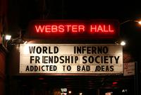 Sign at Webster Hall, World Inferno Friendship Society