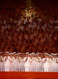 An orchestra performs during the Opening Ceremony for the 2008 Beijing Summer Olympics
