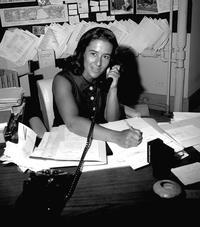 Doris Freedman in the public art office at Central Park, 1968.