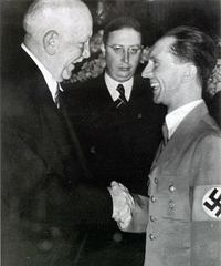 Richard Strauss; Joseph Heinz Drewes, director of the Reichsmusikkammer; and Joseph Goebbels, Nazi propaganda chief