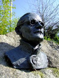 statue of James Joyce at University College Dublin
