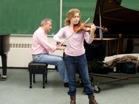 Violinist Masha Lakisova in rehearsal.