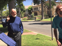 John Williams meets two young brass players who serenaded him at his home.
