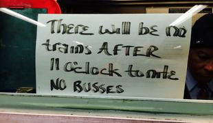 Sign in subway station token booth on evening of Jan. 26, 2015
