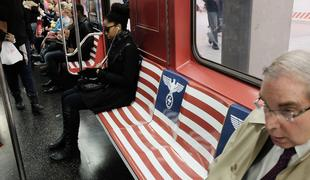 A four-car subway on the Times Square Shuttle line was adorned with imagery from 'A Man in the High Castle.'
