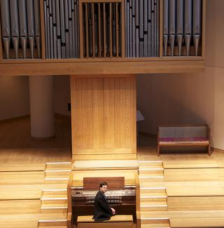 Organist Paul Jacobs, chair of the organ department at The Juilliard School, at Saint Peter's Church in Manhattan.