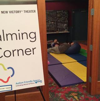 A calming area at the New Victory Theater's autism-friendly performance.