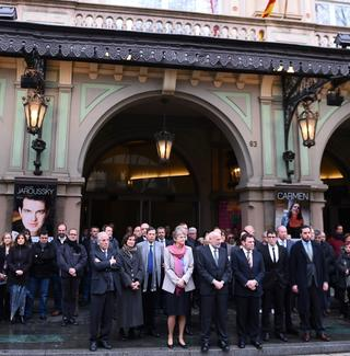 Employees and trustees of the opera house Gran Teatre del Liceu observe a minute's silence in memory of the victims of the Airbus A320 airplane which crashed.