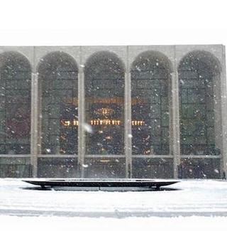 Lincoln Center during the beginning of the snowfall on Monday