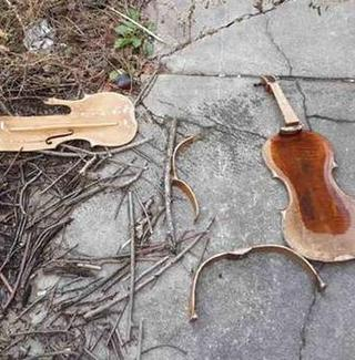 A stolen viola smashed to