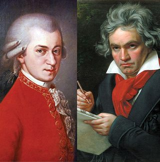 Mozart (L) and Beethoven (R).