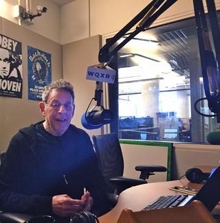 Composer Philip Glass in the WQXR Studios