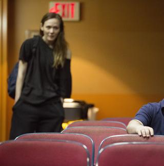 Louisa Krause and Matthew Maher in Annie Baker's 'The Flick' at the Barrow Street Theatre.