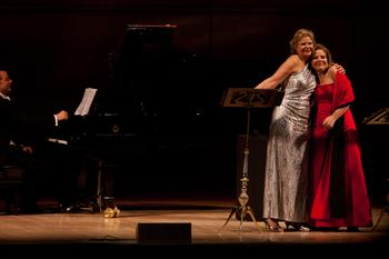 Susan Graham and Renée Fleming (after a dress change during intermission). There was  a lot of hugging and hamming it up during the performance.