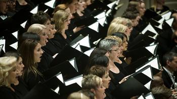 The Chicago Symphony Chorus led by chorus director Duain Wolfe.