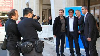 Photo Op: Leif Ove Andsnes, New York Philharmonic Music Director Alan Gilbert, 21C Media Group's Albert Imperato, and New York Philharmonic Executive Director Matthew VanBesien.