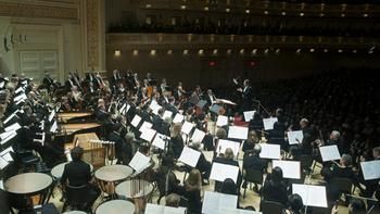 The packed stage for Carl Orff's 'Carmina Burana.'