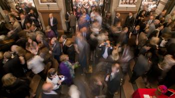 The bustling Carnegie Hall lobby on the first night of its 2012-13 season.