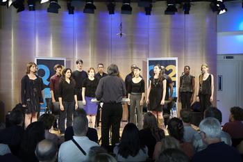 Musical director Michael Riesman leads the Philip Glass Ensemble with Helga Davis and Kate Moran in 'Knee Play 1' from <em>Einstein on the Beach</em> in the Greene Space on Sept. 8, 2012.