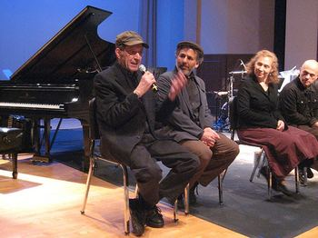 Steve Reich and members of Bang on a Can (Michael Gordon, Julie Wolfe, and David Lang) after the world premiere of Double Sextet