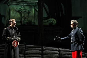 Liam Bonner as Lieutenant Audebert and Ben Wager as The General in the Minnesota Opera production of Silent Night