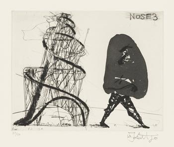 """Nose 3"" from ""Nose."" Art by William Kentridge. Music by Philip Miller. One aquatint, drypoint, and engraving from a series of thirty prints set to sound. 2007."