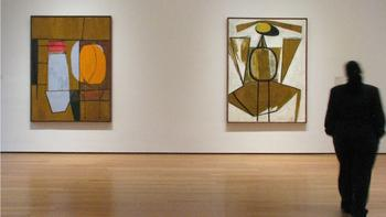 Early paintings by Robert Motherwell hang at the Museum of Modern Art's exhibit, 'Abstract Expressionist New York.""