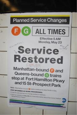 Brooklyn F and G Train Riders Get Service Back -- for Now