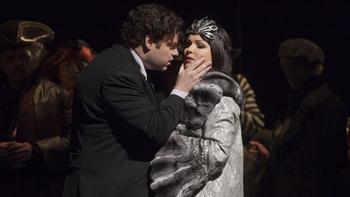"Joseph Calleja as Hoffmann and Anna Netrebko as Stella in Offenbach's ""Les Contes d'Hoffmann."" Taken during the rehearsal on November 27, 2009 at the Metropolitan Opera House."