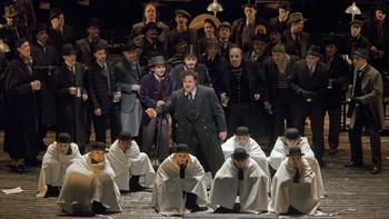 """A scene from the Prologue of Offenbach's """"Les Contes d'Hoffmann"""" with Joseph Calleja as Hoffmann."""